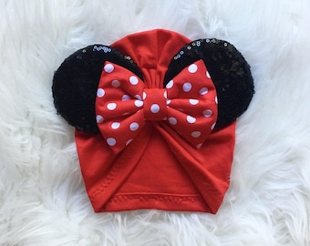 Red Minnie Turban with Polka dots Bow
