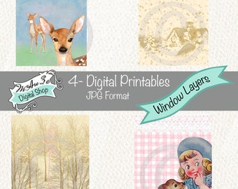 We Are 3 Digital Printables, Pre-Colored, Window Layers, ATC