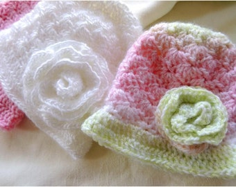 New BABY hat PATTERN! Susan's Baby Shell Stitch Hat and Rose - Fast and Easy Crochet Pattern Instant Download