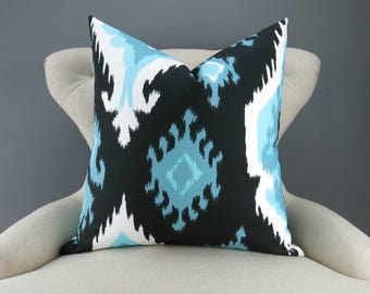 Blue & Black Ikat Pillow -up to 28x28 inch- Decorative Pillow, Cushion Cover, Throw Pillow, Euro Sham, Regatta Ikat Premier Prints, FREESHIP
