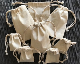 5x7 inch 100% organic Cotton Muslin bags, Art Craft Bags, Reusable bags Thick Double Drawstring -Choose from Quantities. (25, 50 or 100)