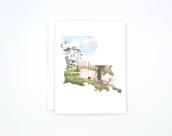 Louisiana Notecards - Louisiana State Art Cards - Watercolor Notecard - Blank Notecard - Louisiana Gift - Louisiana Wedding Gift - Louisiana