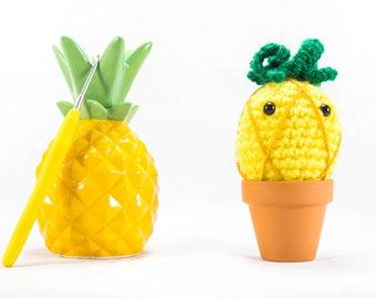 Pineapple, pineapple decor, Crochet pineapple, crochet fruit, tropical, fruit ornament, fake plant, pineapple gift, amigurumi pineapple