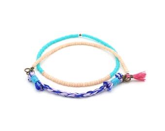 Collaged Layering Bracelets - Braided & Beaded - Cobalt Blue, Lavender, Pink - Ashdel