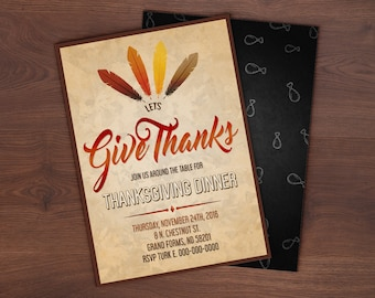 Custom Give Thanks Thanksgiving Invitation Card - 5x7 or 4x6
