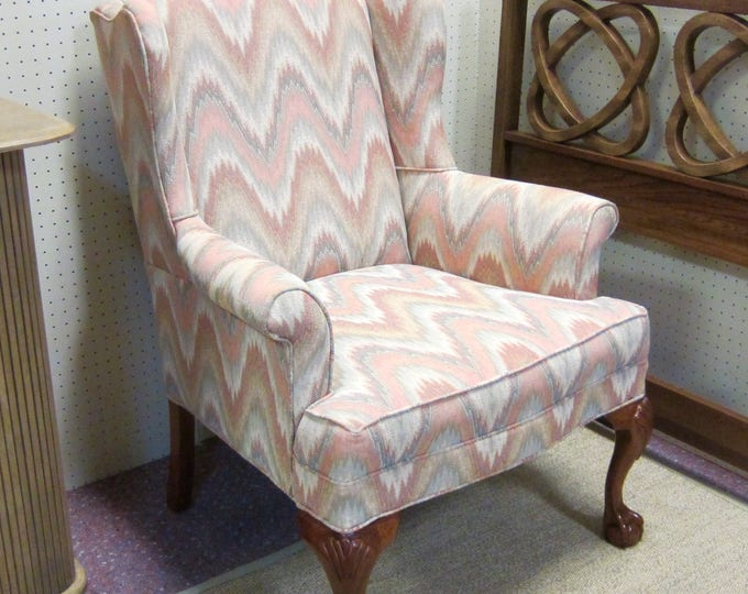Vintage Flame Stitch Upholstered Wingback Chippendale Style Chair