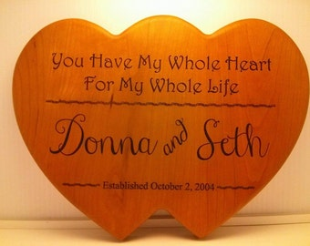 Couples Names Engraved, Two Hearts Wooden Plaque, Wedding/Anniversary Gifts, Marriage Established