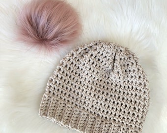 Spring cotton beanie taupe