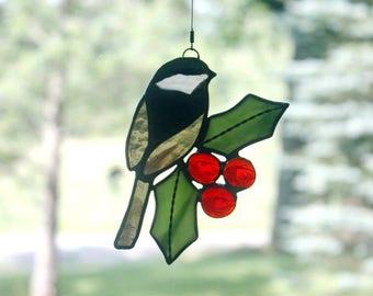 Stained Glass Chickadee with Holly Suncatcher, Bird Lovers Gift, Christmas Decor, Wildlife Art
