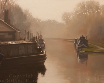 British Canal Scene Original Painting by award winning British artist JOHN SILVER. B.A. 20 x 16 inches