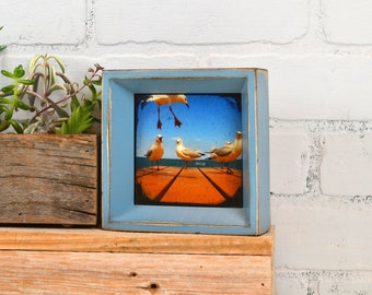 "4x4"" Square Picture Frame in Park Slope Style with Super Vintage Smokey Blue Finish - IN STOCK - Same Day Shipping - Handmade 4 x 4 Frame"