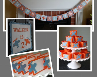 Airplane Birthday Party Package, Happy Birthday Banner, Candy Cups, Food Labels, Door Sign, Airplane Decorations