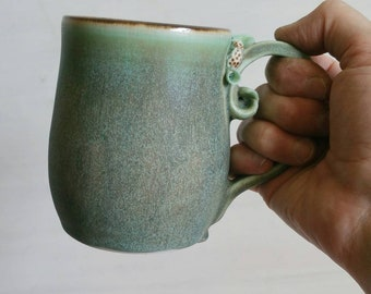 Woodland Ceramic Mug, green, organic, nature inspired mug.  Handmade ceramic mug.  One of a kind handmade mug.  Wheel thrown pottery mug.