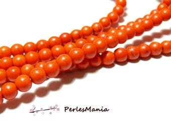 1 strand of approximately 67 beads ORANGE round 6 mm reconstituted Turquoise