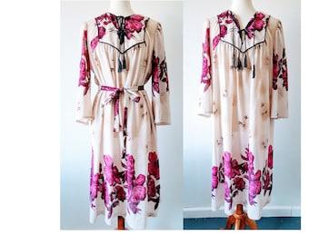 Vintage Gunne Sax Dress Floral Boho Maxi Western Hippie Prairie Dress Peasant Muumuu Bohemian Festival Indie Hipster Lounge 70s Style Sz M L