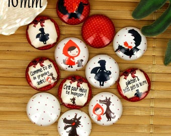 Set of 12 16mm glass cabochons, fairy tale Red Riding Hood, ZC38