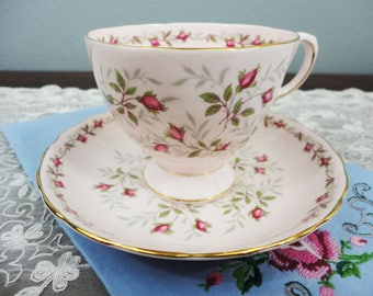 Vintage Tuscan 'Charmaine' Pink Rosebud Floral English Bone China Teacup and Saucer Gifts for Her Tea Party
