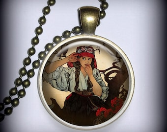 Mucha Gypsy Pendant Charm, Resin Necklace, Image Pendant, Art Nouveau Necklace Pendant (p25)