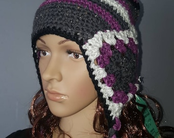 Granny square earflap winter hat