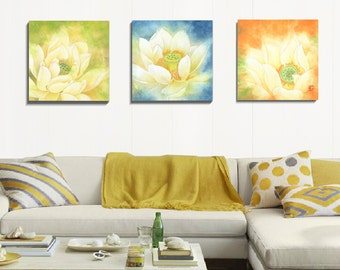 Canvas Art Prints, 3 Piece Wall Art, Watercolor Print, Flower Art, Wall Art, Set Of Prints, Stretched Canvas Art