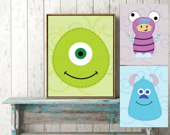 Set of 3 Monsters Inc. Nursery Wall Art 11x14- Ready to Print- Instant Download