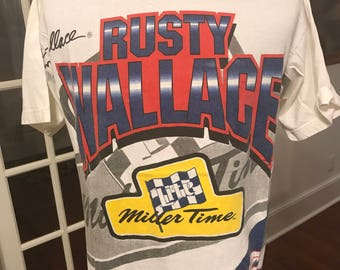 Vintage 1990's NASCAR Rusty Wallace Miller Time #2 T Shirt