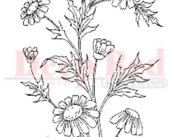 Deep Red Rubber Stamp Wildflowers Cluster Garden Botanical