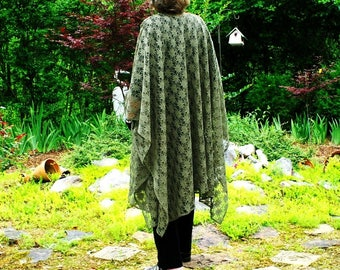 Olive Green Lace Shawl, Wrap, Cape, Beach Coverup or Ruana--Lightweight, Elegant, Romantic--One Size Fits Most Plus Size Gypsies
