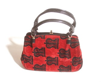 Vintage 1980s Red and Black Patterned Carpet Snap Clasp Top Handle Handbag