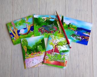 Set of 5 Caribbean Landscape Notecards (With Plain White Envelopes)
