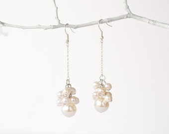 Silver drop earrings with white pearls, bridal jewelry, wedding jewelry