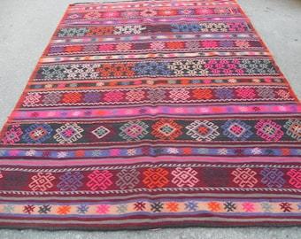 "82"" X 56"" Pink Diamond design cecim Kilim rug, Vintage Turkish rug, rugs, vintage rug, bohemian rug, eccentric rug, cecim, PİNK kilm"