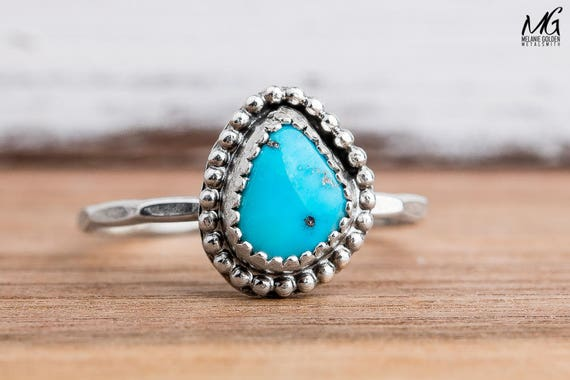 Morenci Turquoise Gemstone Ring in Sterling Silver - Size 8.25