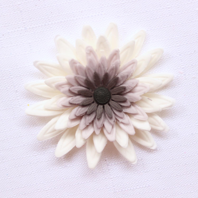 Fondant Flowers 6pcs Large Daisy White Gray Black Ombre