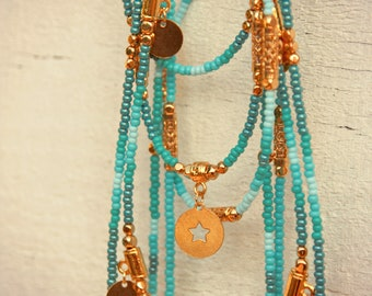 Ethnic Necklace, Turquoise Necklace, Woman Necklace, Gold Necklace, Charms Necklace, Long Necklace, Boho Necklace, Bohemian Necklace, Gift