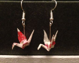 Cranes (Spring cherry blossams) [ Origami earrings ]