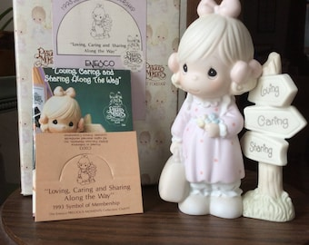 Vintage Enesco / Precious Moments Figurine / Loving, caring and sharing along the way