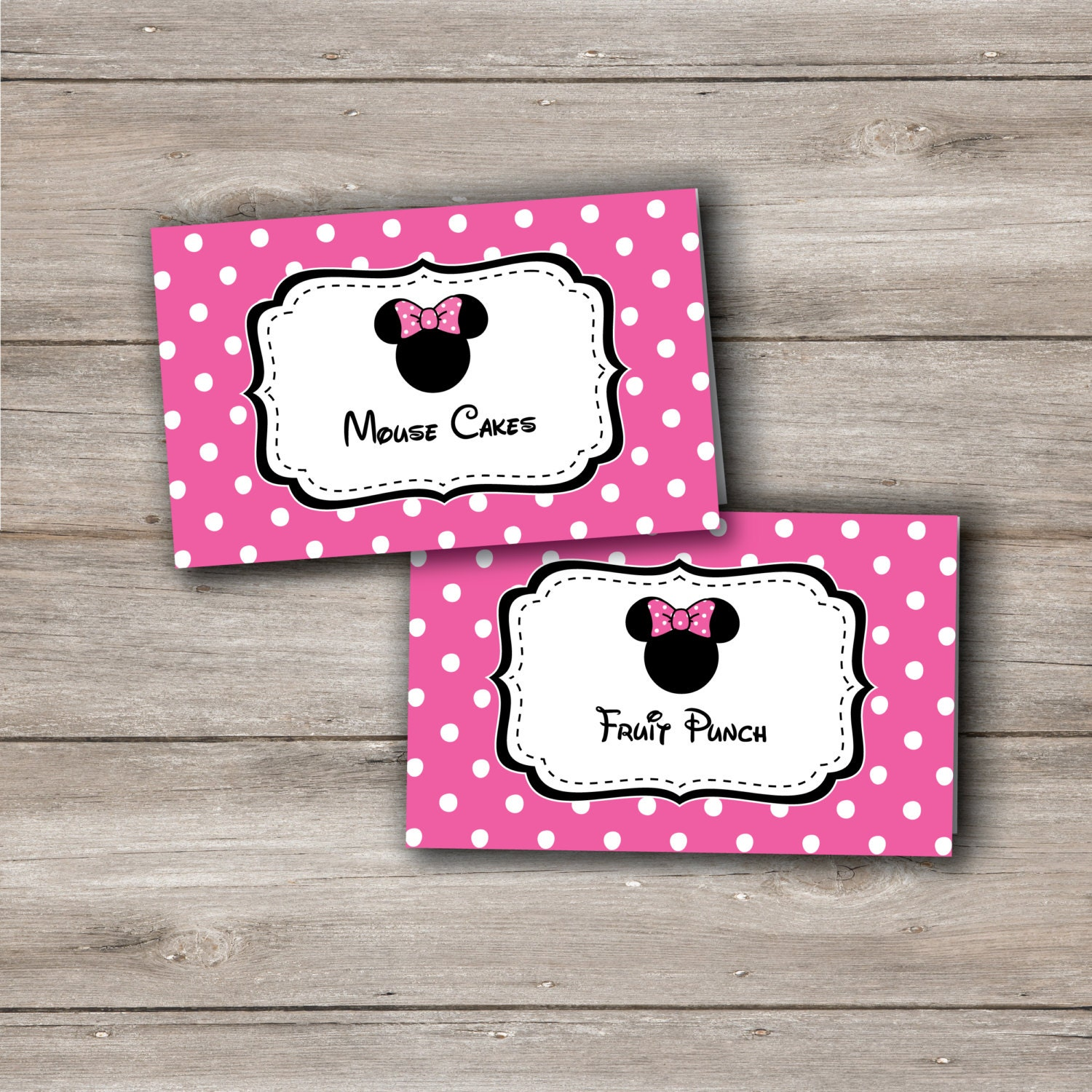 Pink Minnie Mouse Food Tent Cards Pink Minnie Mouse Food