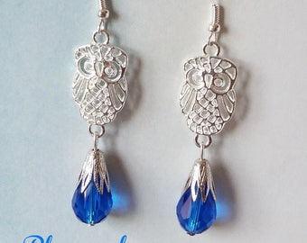 Blue Crystal drops and silver nugget earrings