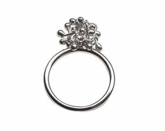 Sterling Silver Cluster Ring - Simple Stacking Ring