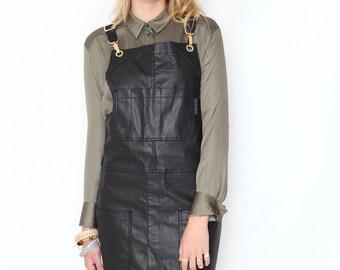 Cross-Back Apron - Coated Black Denim - Gold Metal - Split-Leg - Black Leather