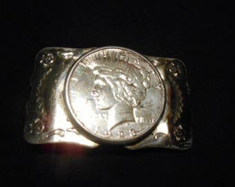 Bell Nickel Silver Belt Buckle with 1923 Silver Peace Dollar