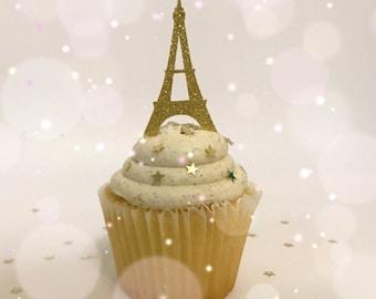 Paris Cupcake Toppers| Eiffel Tower Cupcake Toppers| Gold Glitter Toppers| Glitter Toppers| Birthday Parties| Paris Is Always a Good Idea