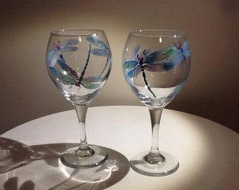 Iridescent Dragonfly hand painted wine Glass, 14.95 each glass, makes a beautiful and whimsical gift, a true work of art
