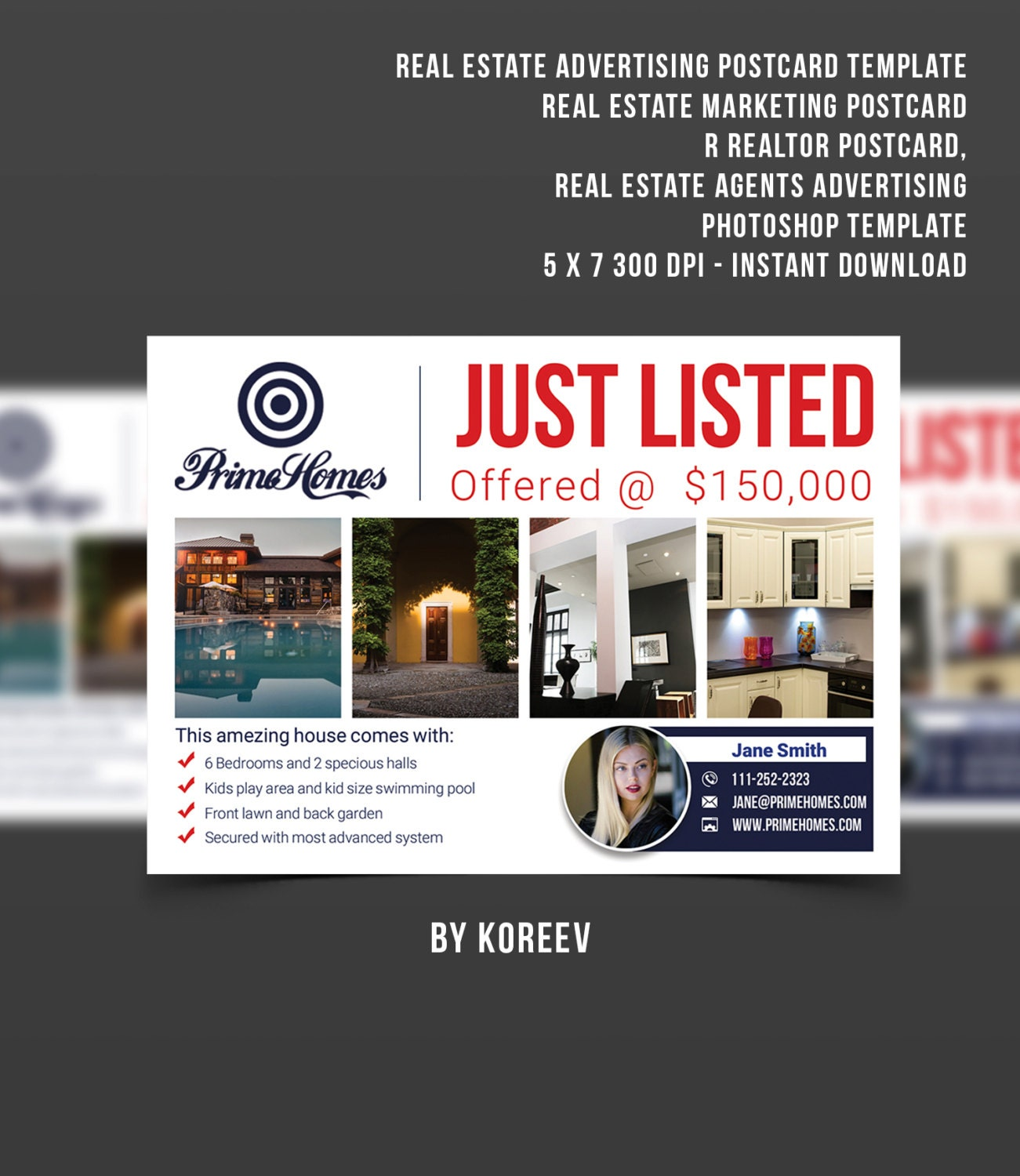 Real Estate advertising Postcard Template Editable in MS Word