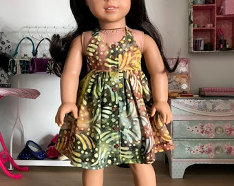 "18 inch ,18"" doll clothes- Pretty batik halter dress ."