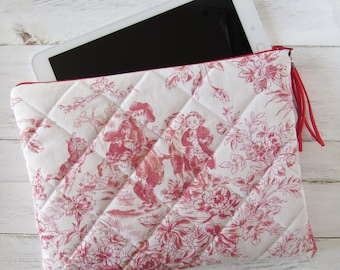"case for tablet 9,7"" made of Toile de Jouy pink red, suede tassel red, 9.7 inch tablet accessories, case for iPad or eReader, gift idea"