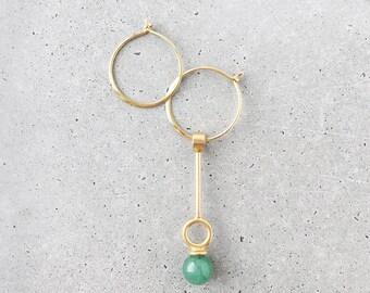 Stoned Gemstone Asymmetrical Hoop Earrings / Choker Necklace Multi-way / 14k gold vermeil / green aventurine