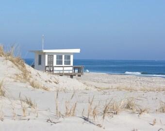 Lifeguard Tower Beach Photography, Coastal Wall Art, Blue & Gray Ocean Wall Art, Jersey Shore Beach Decor, Nautical Wall Art, Beach Palette
