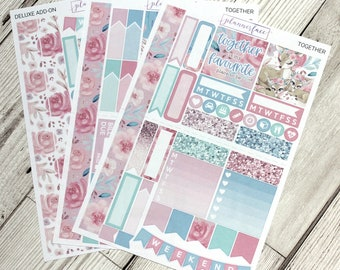Together | Mini Planner Sticker Kit, Personal Kit, TN Stickers, Spring Kit, Love, Family, Deer, Swans, Floral, Flowers, Roses, Rose Gold